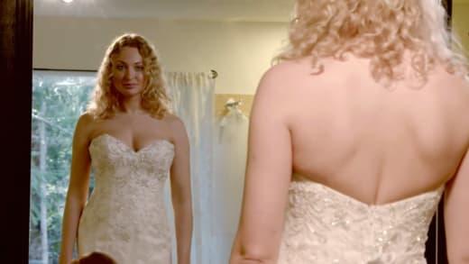 Natalie Murdovtseva wears a wedding dress