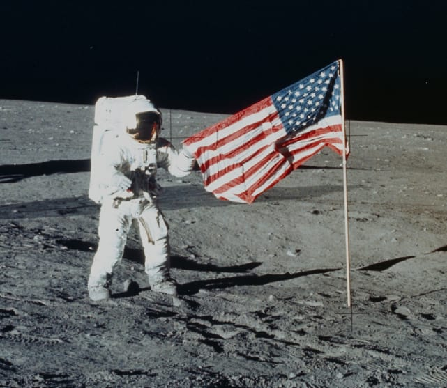 We planted our flag on the moon first.