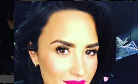 Demi Lovato with Pink Lipstick