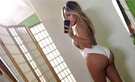 Kim Kardashian White Bodysuit Butt Selfie Photo