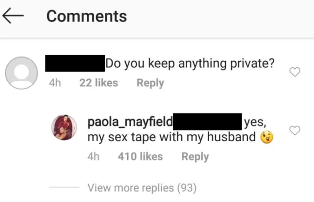 Paola mayfield on ig reveals sex tape with russ