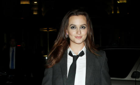 Leighton Meester suited up