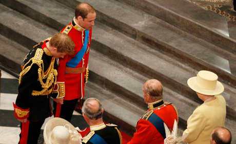 Prince William and Prince Harry Bow To The Queen Inside Westminster Abbey