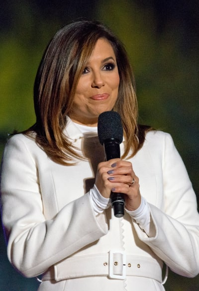 Eva Longoria in a White Winter Jacket Photo