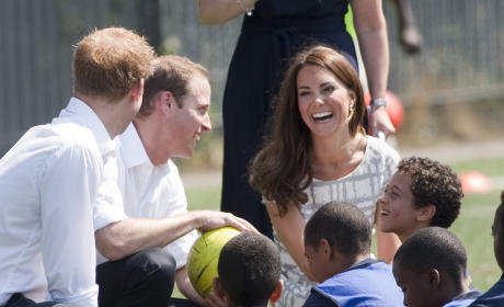 Harry, William and Kate Visit Bacon's College