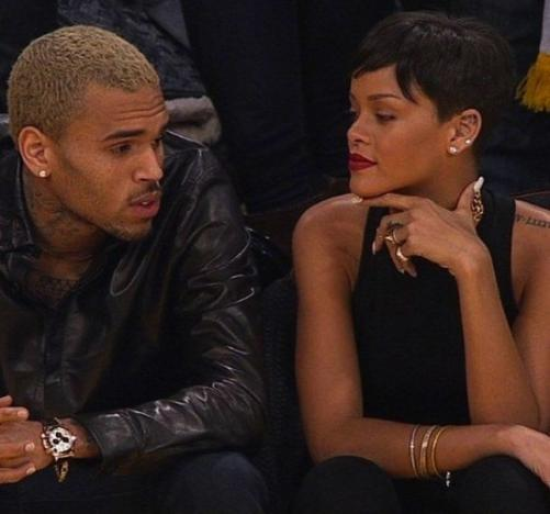 Chris Brown and Rihanna Courtside