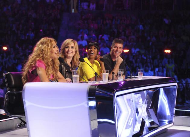 Paulina Rubio, Demi Lovato, Kelly Rowland and Simon Cowell