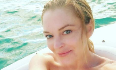 Lindsay Lohan on a Boat