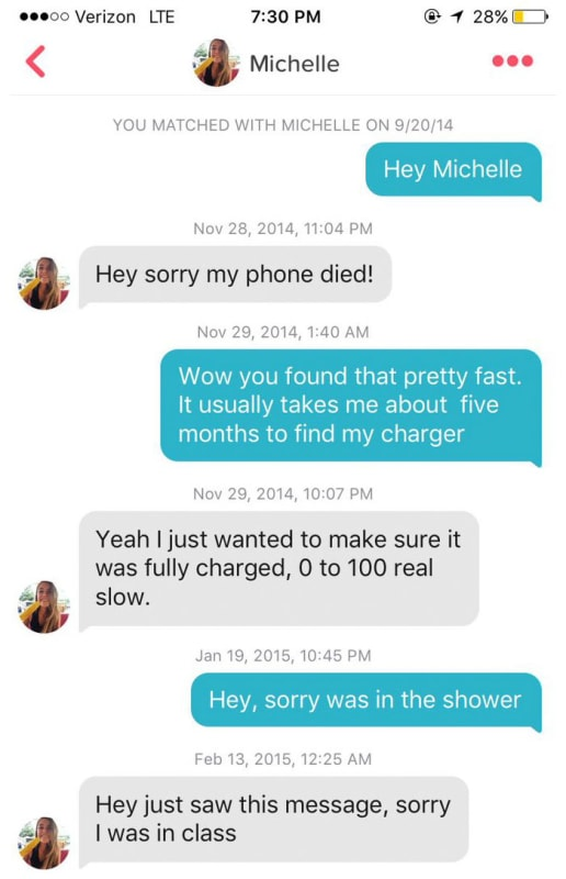"It started with ""Hey Michelle"" and one very delayed reply"