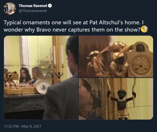 Thomas Ravenel tweet - Patricia Altschul racist decor