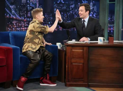Justin Bieber and Jimmy Fallon