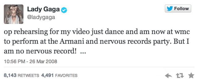 Lady Gaga's First Tweet