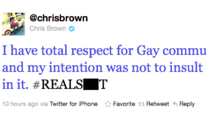 Chris Brown Sort of Apologizes For Gay Insult
