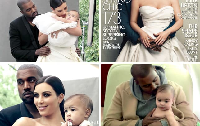 Kanye kim and north for vogue