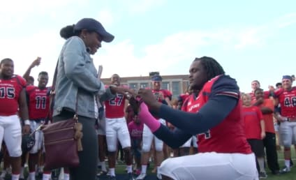 Football Team Helps Linebacker Propose to Girlfriend