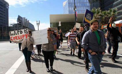 Pro-Dorner Protestors Gather Outside LAPD Headquarters