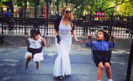 Mariah Carey Wears Ball Gown on Swings
