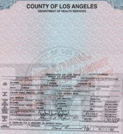 Michael Jackson Jr. Birth Certificate