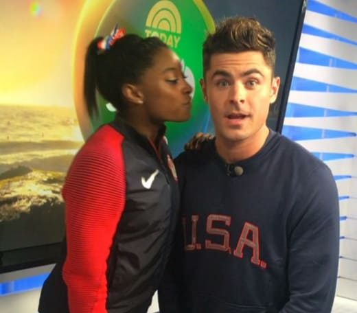 Simon Biles and Zac Efron