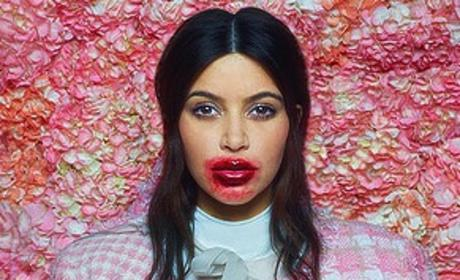 Kim Kardashian with a Lot of Lipstick