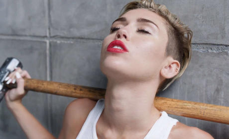 Miley Cyrus Holds Sledgehammer
