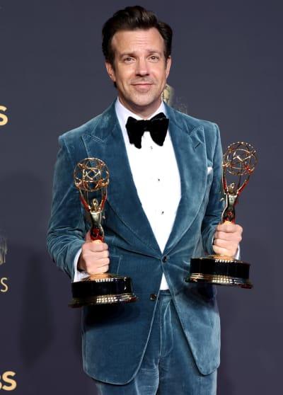 Jason Sudeikis Holds Two Emmy Awards