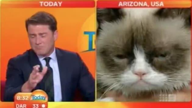 Grumpy Cat Interviewed On Australian Tv Anchor Can T Even