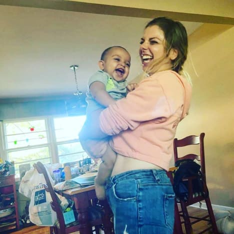 Ariela Weinberg Plays with Baby Aviel