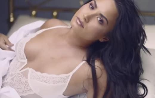 Demi Lovato in White Lingerie