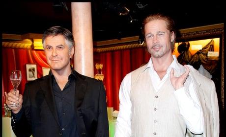 Brad Pitt and George Clooney Wax Figures