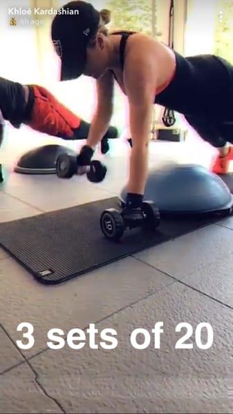 Khloe Kardashian IG Story Workout