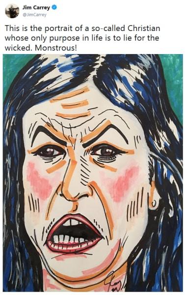 Jim Carrey Paints Sarah Huckabee Sanders