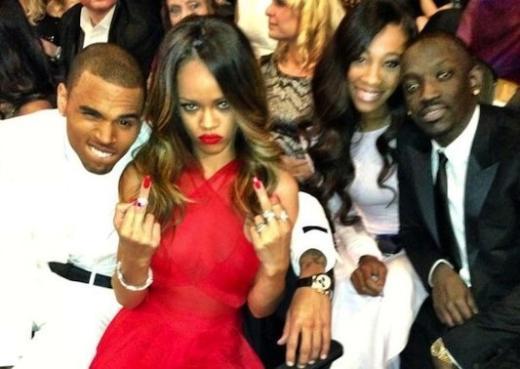Chris Brown and Rihanna at the Grammys