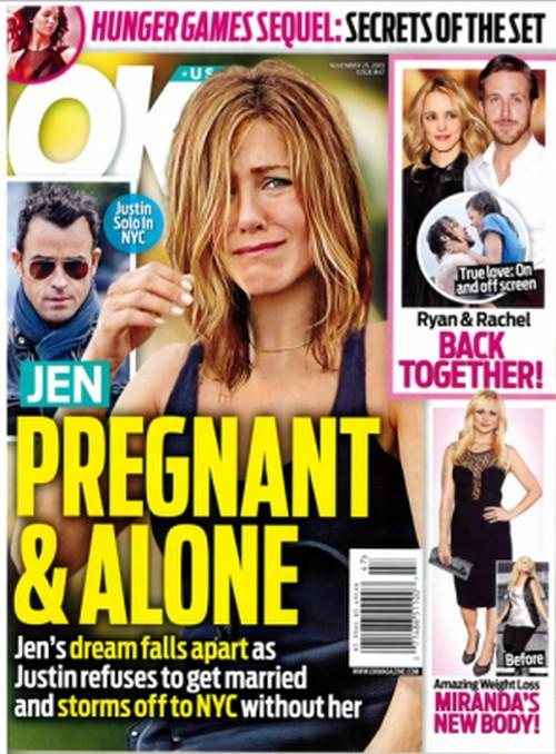Jennifer Aniston Pregnant, Alone