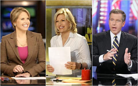 Brian Williams, Katie Couric and Diane Sawyer