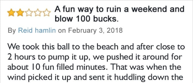 This guy purchased the ball and almost immediately regretted it