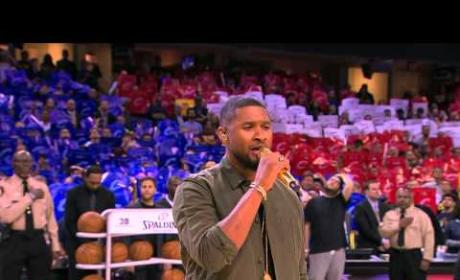 Usher Sings National Anthem at NBA Finals