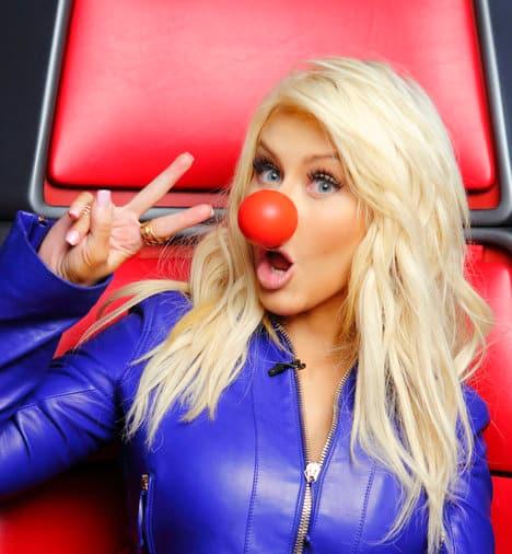 Christina Aguilera Red Nose Photo