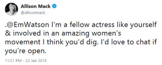 Allison Mack Tweet to Emma Watson