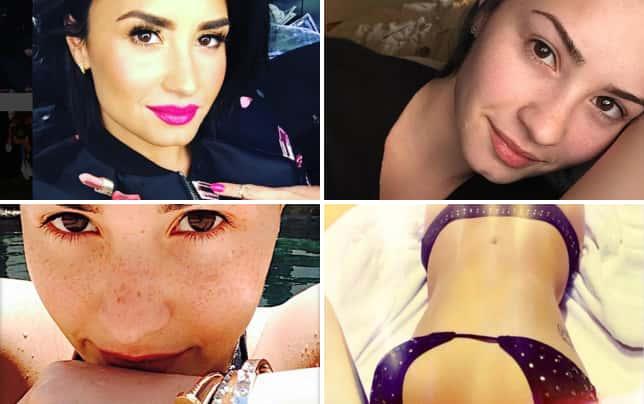 Demi lovato with pink lipstick