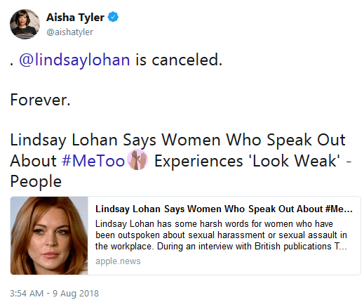 Lindsay lohan slammed and canceled tweets 01 aisha