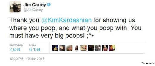 Jim Carrey tweet about Kim K's ass