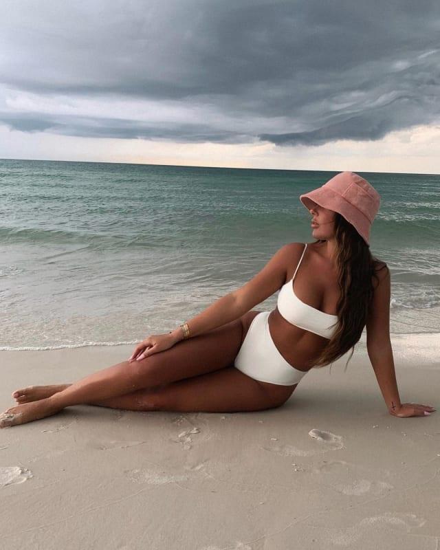 Brielle biermann color contrast in a white bikini