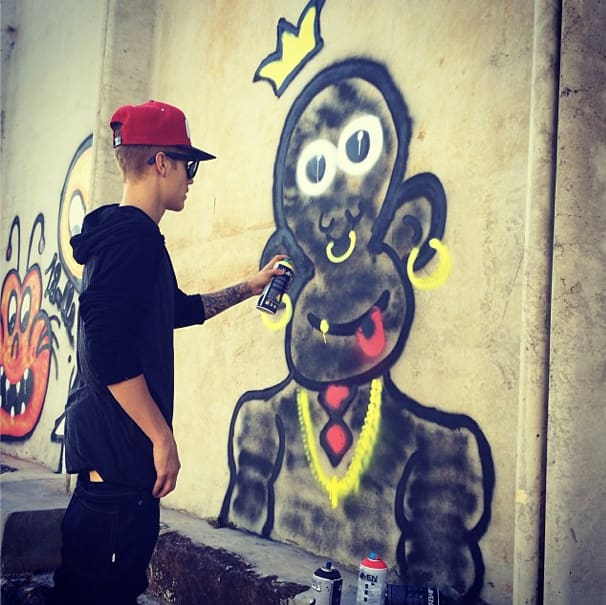 Justin Bieber Monkey Graffiti