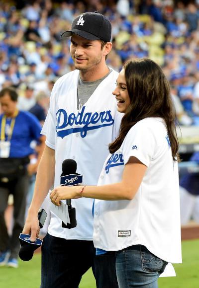 Mila Kunis and Ashton Kutcher: Go Dodgers!
