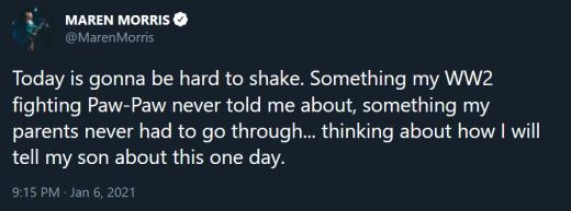 Maren Morris tweet - today's going to be hard to shake