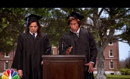 Jimmy Fallon and Dwayne Johnson Give 1989 Commencement Speech