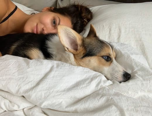 Becca Kufrin and Dog