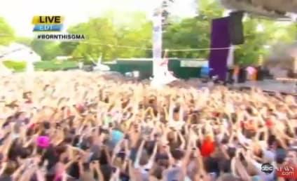 Lady Gaga Ziplines, Performs on Good Morning America