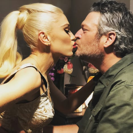 Gwen Stefani and Blake Shelton Kiss on IG